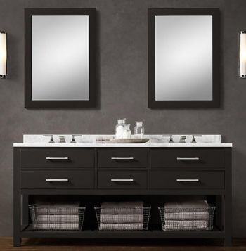 BLK01-72 wooden bathroom vanity cabinet in black color