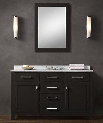 Merveilleux BLK02 55 Wooden Bathroom Vanity Cabinet In Black Color