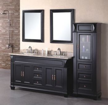 60inc double sinks bathroom vanity cabinet D970 from Black