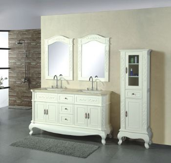 Double sink wooden bathroom vanity cabinet in Ivory color D968