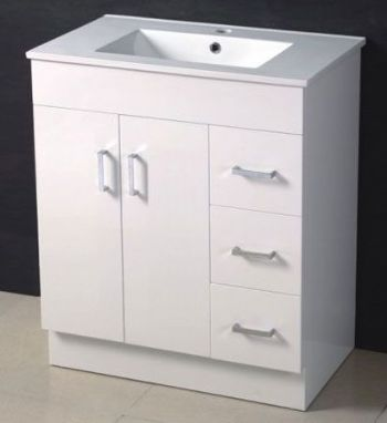 750mm Mdf Bathroom Vanity In High Glossy White Color M961