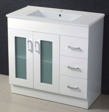 900mm Gl Door Mdf Bathroom Vanity In White Color M966
