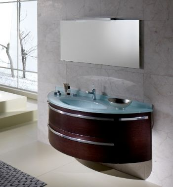 NPL345 Round Face Bathroom Cabinet With Glass Top