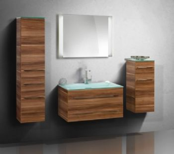 N16187 Laminate Bathroom Furniture Cabinet Wooden Walnut Finish