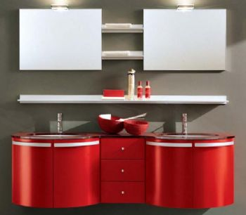 P1303 Double PVC bathroom vanity cabinet in RED from Bathroom Vanity ...