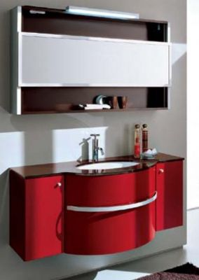 P1303 Double PVC bathroom vanity cabinet in RED from Bathroom ...