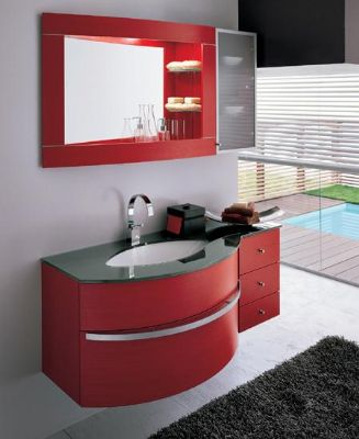 P1311 Red color PVC Bathroom vanity cabinet from Bathroom Vanity ...