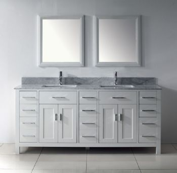 Contemporary double sinks bathroom vanityfrom wooden