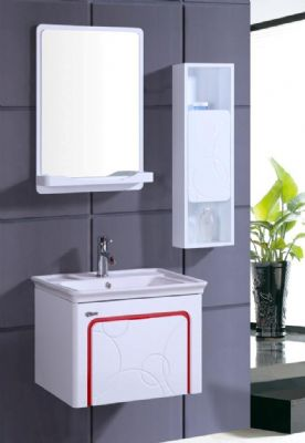 Pvc Bathroom Vanity Cabinet In White P7209 High Glossy Finish Wall Hung