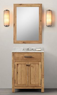 Wnut01 27 wooden bathroom vanity in light walnut color for Bathroom cabinets natural wood
