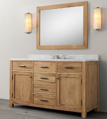 Wnut01 55 wooden bathroom vanity in light walnut color for Bathroom cabinets natural wood