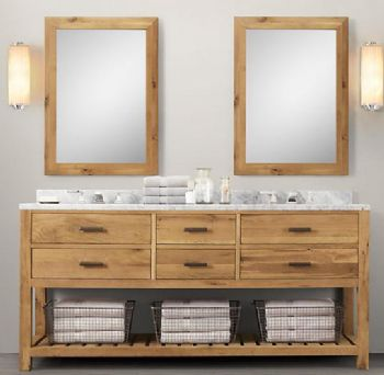Wnut02 72 Double Wooden Bathroom Vanity In Light Walnut Color