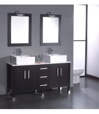 Double Sink Wooden Bathroom Furniture S754