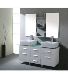 white color double sinks bathroom furniture D737