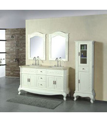 72inc Double sinks bathroom vanity cabinet in Ivory color D968
