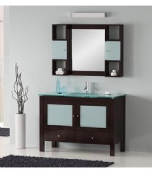 ES03 Bathroom vanity cabinet with glass countertop