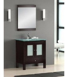 ES07 Single bathroom vanity cabinet with glass top sink