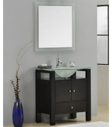 ES08 modern bathroom vanity cabinet with glass top and sink
