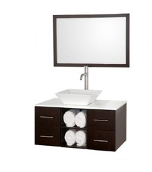 36inc Wall mounted bathroom vanity in Espresso color 58271