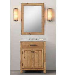 WNUT01-27 wooden bathroom vanity in light walnut color