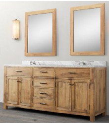 WNUT01 72 Double Wooden Bathroom Vanity In Light Walnut Color