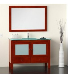 WNU03 Bathroom vanity cabinet in glass countertop