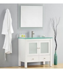 W10 Bathroom vanity cabinet with glass top