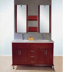 S439double basins marble top wooden bathroom furniture