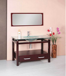 Glass basin wooden bathroom furniture S4622