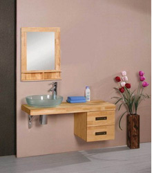 glass basin wooden bathroom vanity S466
