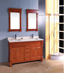 S485 double sinks wooden bathroom furniture